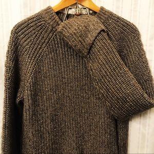 H&M Chunky Knit Metalic Beige/Grey Sweater size L